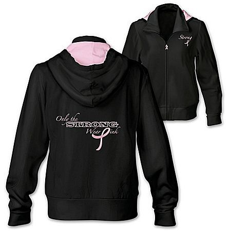 Only The Strong Wear Pink Women's Breast Cancer Awareness Hoodie