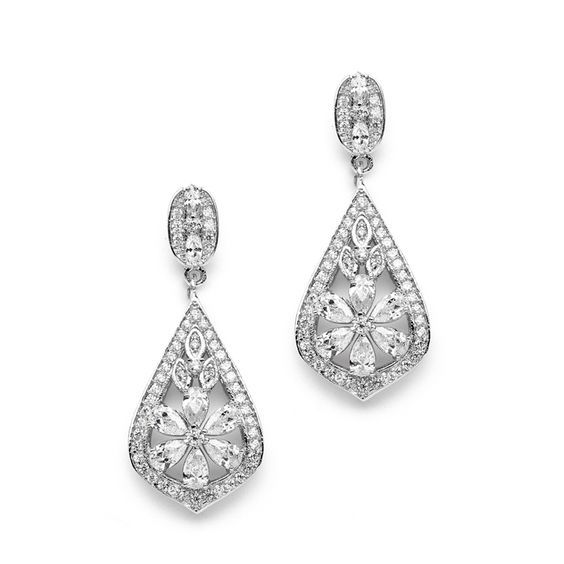 Glamorous Art Deco CZ Wedding Earrings - Affordable Elegance Bridal -