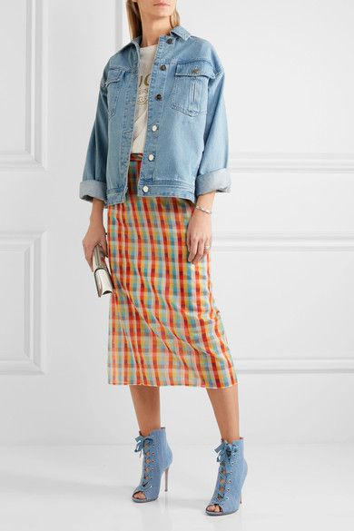 Miu Miu | Checked cotton-voile wrap midi skirt | NET-A-PORTER.COM
