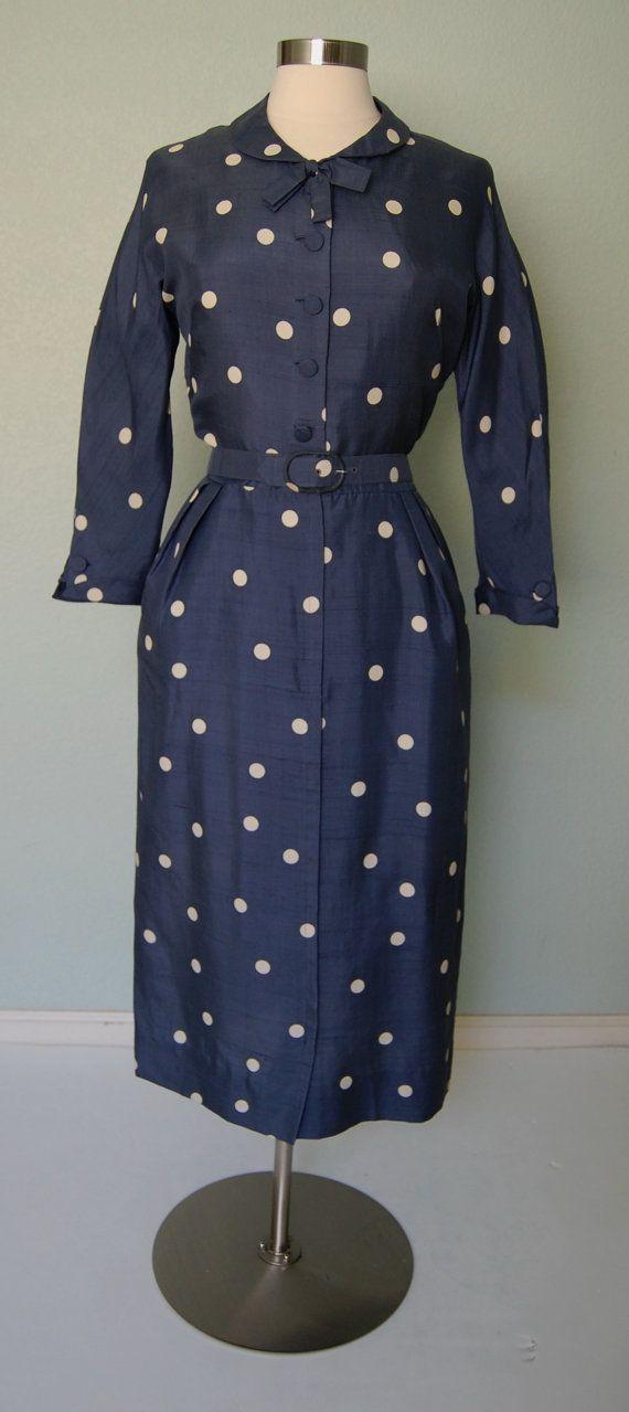 1950s Harvey Berin Tailored Silk Day Dress - Periwinkle and Polka Dots - Medium