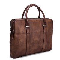 Vintage Vegetable Tanned Men Leather Briefcase/Messenger Bag/Laptop Bag 9043 - Thumbnail 1