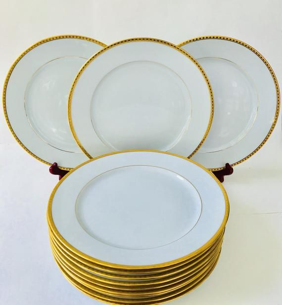 Tiffany Co China Limoges Gold Band Dinner Plate 10 3 4 Plates Gold Bands Plate Design White and gold dinner plates