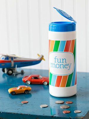 Make a change jar out of an empty cleaning-wipe container to help kids learn to save.