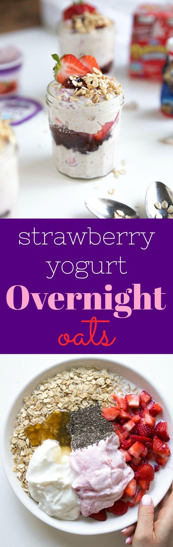 Easy Strawberry Yogurt Overnight Oats #ad #overnightoats #glutenfree #healthy #strawberries #breakfast #oatmeal #yogurt #chiaseeds #vegetarian