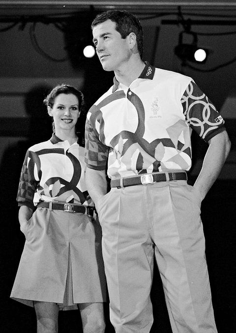 1996    Hanes models sporting the volunteers' uniforms for the Atlanta Games.