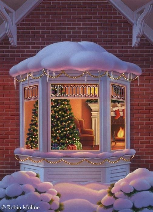 """Christmas Window"" by Robin Moline - An example of how to shade snow."
