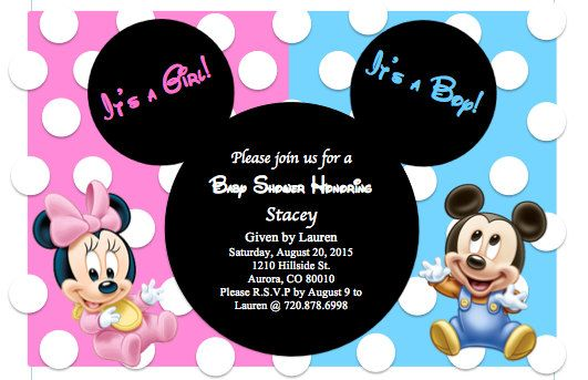 Baby Mickey and Minnie Baby shower invitation Perfect for celebrating twins! The invitation can also be made for a boy/girl sharing a