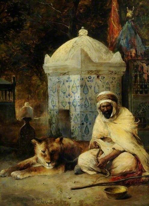Philippe Pavy (1860-?) - The Sacred Lion. Oil on Canvas. Circa 1880-1889. 73.6cm x 53.9cm.