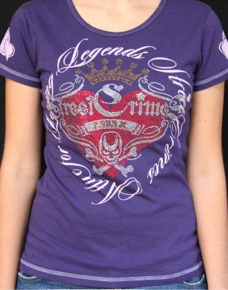 Front of our 'Romance' Tee in purple