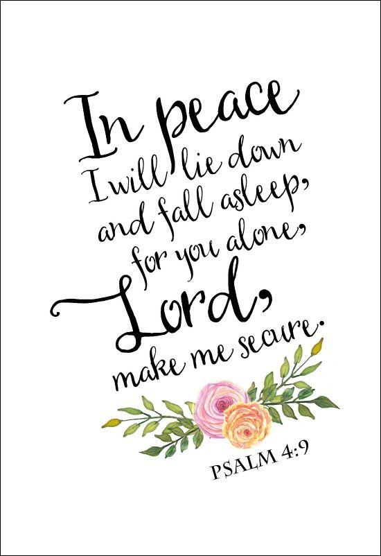 Free Inspirational Printable | Psalm 4 | Watercolor flowers | Bible verse free printable.