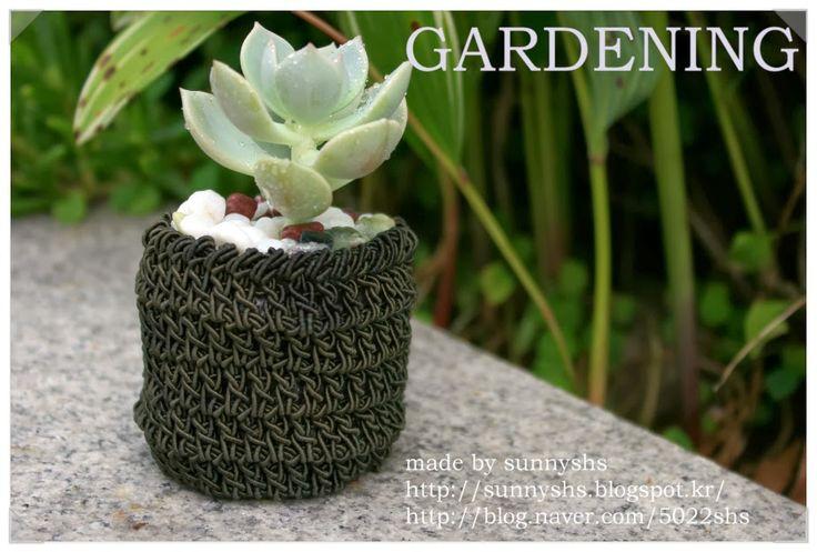 sunny&funny: 미니화분만들기-크로쉐(코바늘) 다육이미니화분-가든소품만들기-crochet mini pot,...