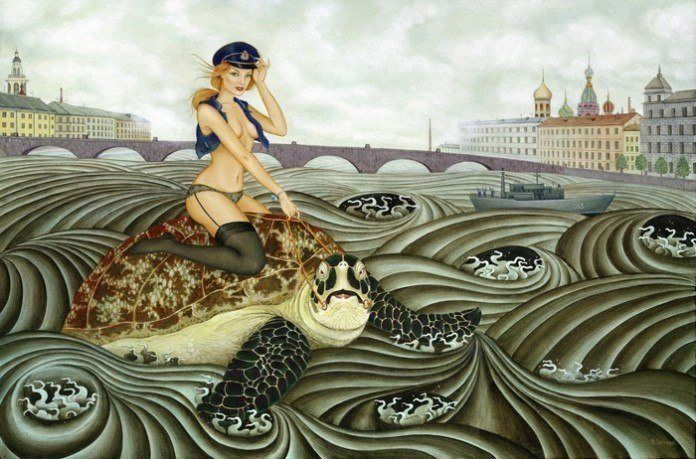 An acrylic on canvas painting of a sexy girl in a cop uniform riding a giant turtle by artist Solongo Monkhooroi