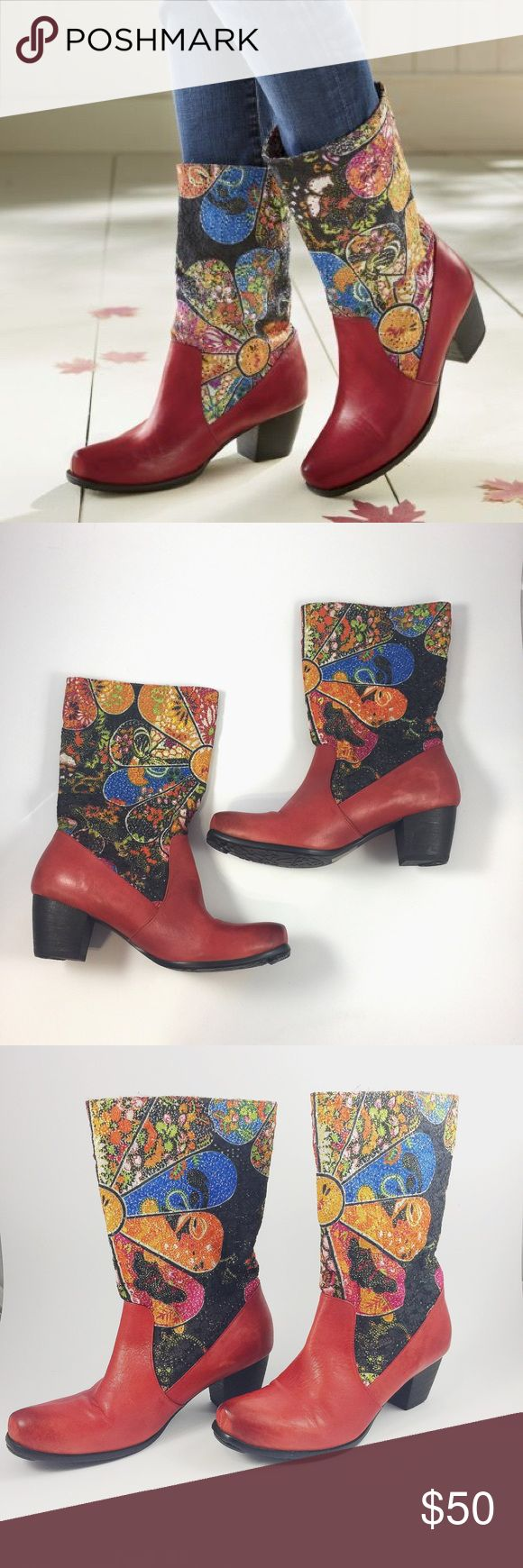 "Spring Step L'artiste Ankle Boots-Manuella The beautiful embroidered flowers will definitely get you compliments. These boots can be worn with a pair of jeans or a dress. Leather and fabric upper. 2"" heel. Only tried on. In excellent condition. Make me an offer Spring Step L'artiste Shoes Ankle Boots & Booties"