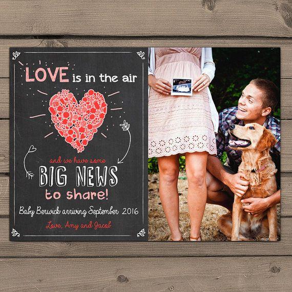 Valentine's day pregnancy announcement card door Anietillustration