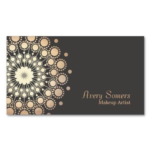 Elegant Gold Circles Makeup Artist Beauty Business Card