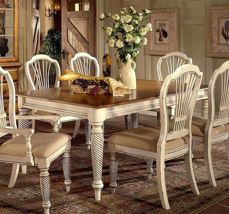 Hillsdale   Wilshire Collection Wood Dining Table W Antique White Finish U0026  Leaves (www.