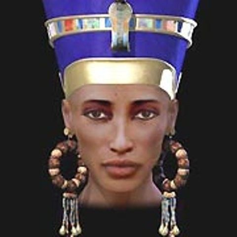 The real computer-generated image of Nefertiti.  The bust is fake https://sites.google.com/site/naomiastral/ancient-kemet/famous-nefertiti-bust-is-a-euorpean-fake