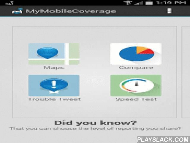 My Mobile Coverage Map  Android App - playslack.com ,  Visualize your cell phone's voice calls, service outages, data speed tests, RF signal strength, coverage map and test your wireless provider's performance! Compare your carrier's coverage to others in your area and create your own personalized mobile coverage map for your Smartphone - FREE! Share the results with friends and your provider and help them improve their network and YOUR wireless experience!MyMobileCoverage℠ Smartphone…