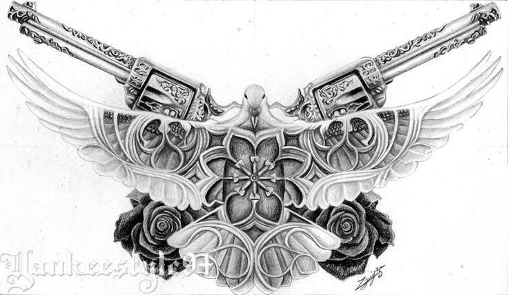 White Dove tattoo with Guns & Roses and cathedral-window details. This is a tattoo drawing for a costumer. Video: youtu.be/GByrF77hvek Time: 7hours Tools: 2H graphitepencil, colored pencils(bla...