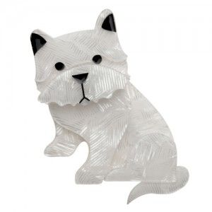 Erstwilder Wiry Winston the Westie Dog Brooch available from BarKATtheMeow.com