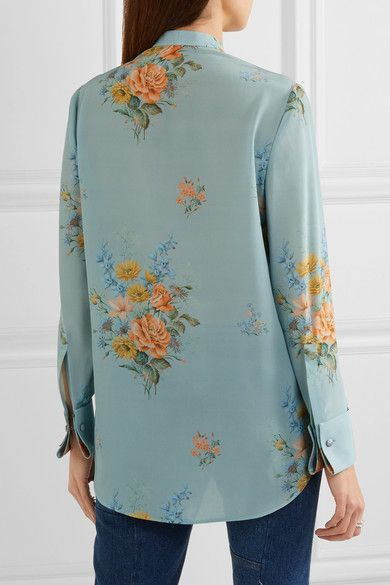 Alexander McQueen - Floral-print Silk Crepe De Chine Shirt - Sky blue - IT48