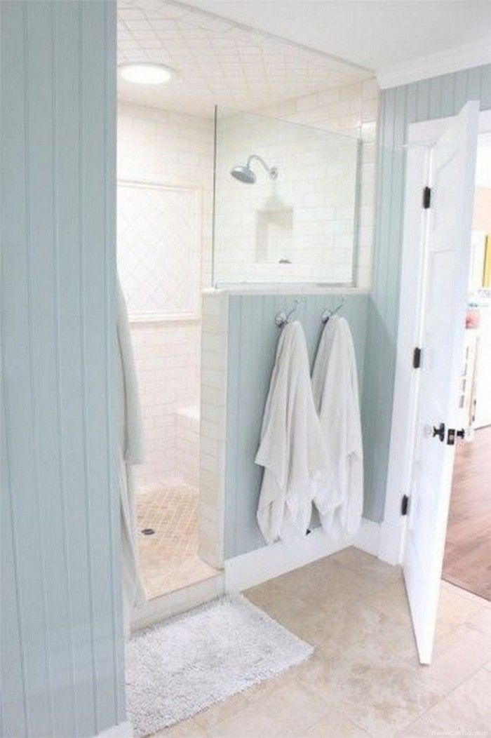 Interesting layout with hooks on shower wall