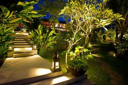 Balinese garden at night