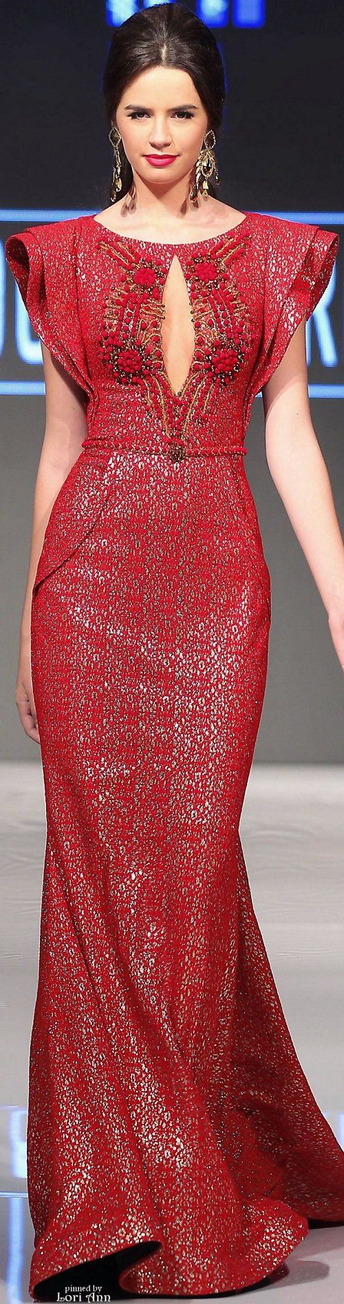 Fouad Sarkis Spring 2016 red dress women fashion outfit clothing style apparel @roressclothes closet ideas