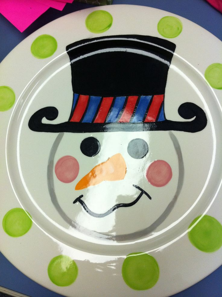 Personalized hand painted ceramic snowman plate for Paint your own pottery ideas