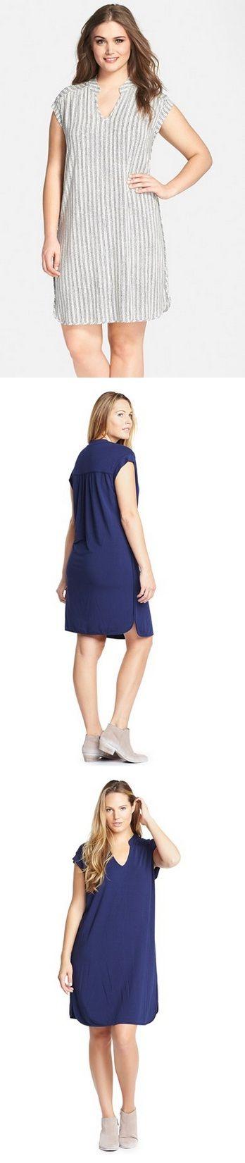 Print 'Mellie' Dividir Neck vestido de jersey (Plus Size)