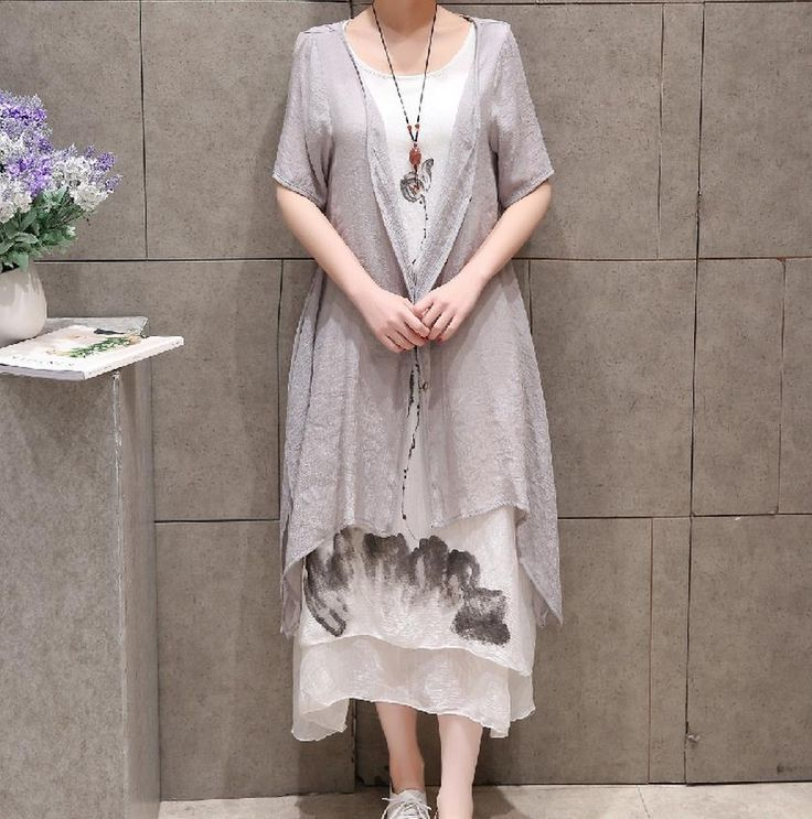 2 Pieces New 2017  Summer China Ink Print Women Plus Size Dress Cotton Linen  A-line Casual O-neck Vintage Grey White Dresses