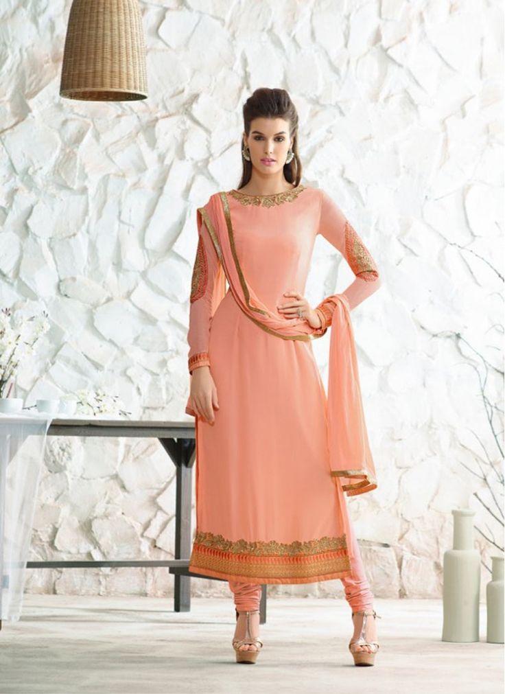 Glorious Peach and Black Lace Sentoon Trendy Churidar Salwar Suit