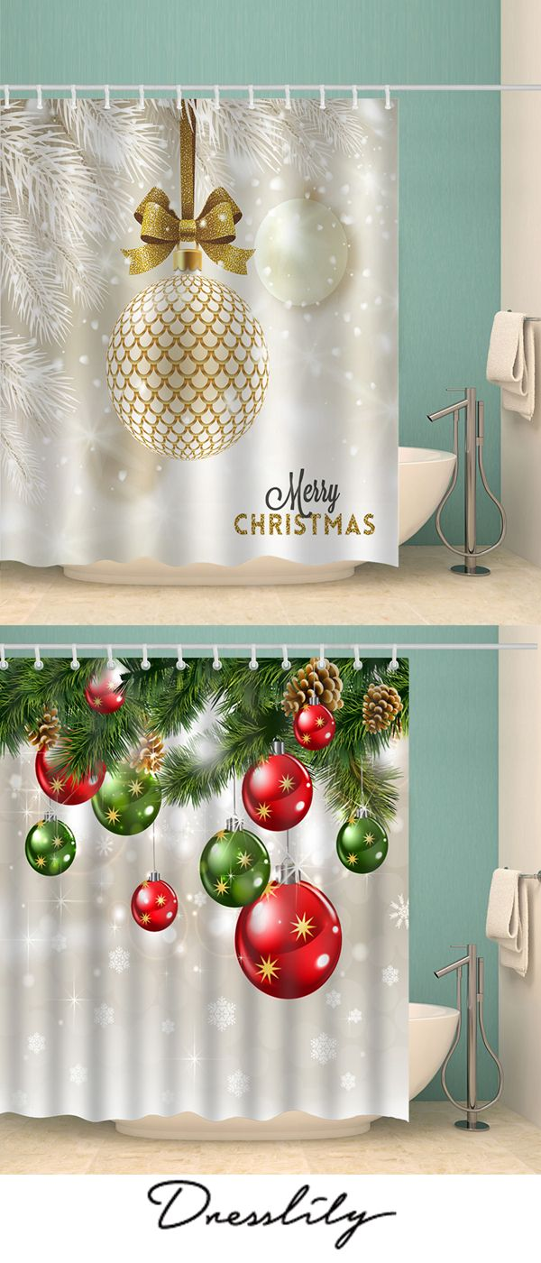 22 Off Christmas Baubles Tree Print Waterproof Fabric Shower Curtain Christmas Dresslily Show Christmas Home Christmas Decorations Merry Little Christmas