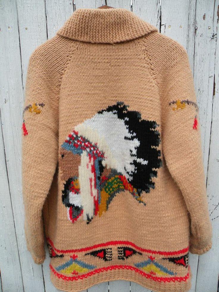 Vintage 50's Cowichan Indian Chief head lined wool cardigan sweater Talon zipper