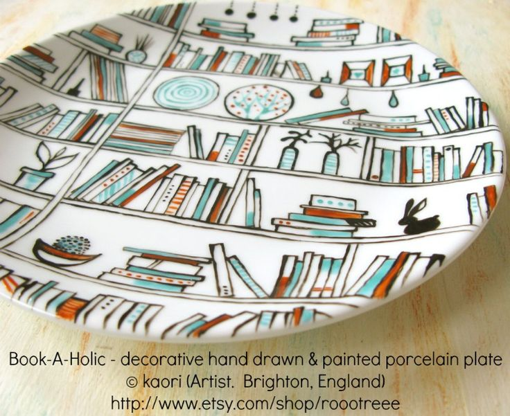 Book-A-Holic - Decorative hand drawn and painted porcelain plate © kaori (Artist. Brighton, England) via her etsy shop