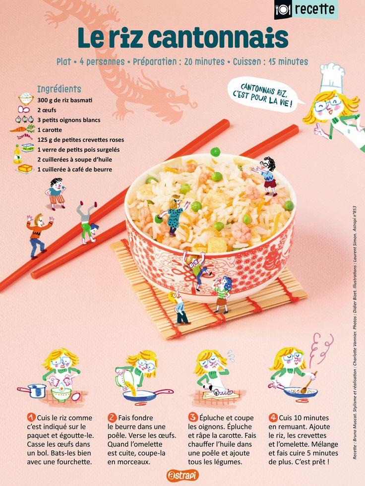 La recette du riz cantonnais, dans le magazine Astrapi de février 2016 (n°853). Une recette facile pour les enfants.
