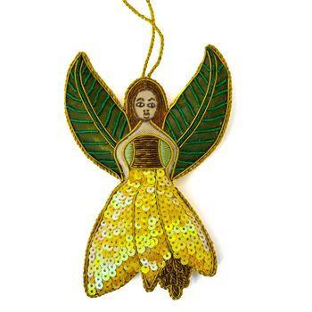 New Zealand Hand Made Kowhai Angel Christmas Decoration - http://www.silverfernz.com/967-hand-made-kowhai-angel-christmas-decoration.htm