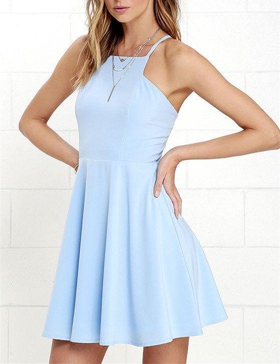 2016 Custom Charming Light Blue Homecoming Dress,Sexy Halter Evening Dress,  Short Homecoming Dress - Thumbnail 1