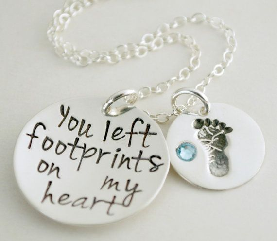 You Left Footprints on my Heart Hand Stamped Necklace by Studio463, $80.00