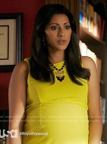 Divya's yellow textured maternity dress on Royal Pains.  Outfit Details: https://wornontv.net/58084/ #RoyalPains