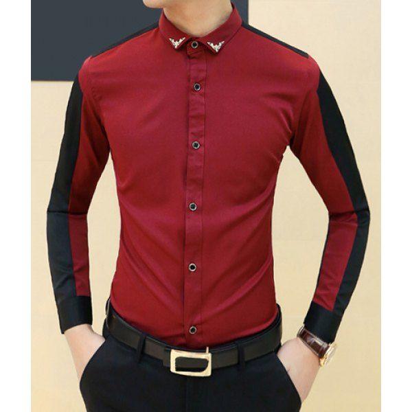 Trendy Metal Embellished Turn-down Collar Slimming Color Splicing Long Sleeves Men's Shirt