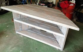For very little money you can build your own corner TV stand, corner desk, etc. Simple step by step with pictures, as well as how to finish the stand to look like it came from Restoration Hardware using stain and homemade liming wax.