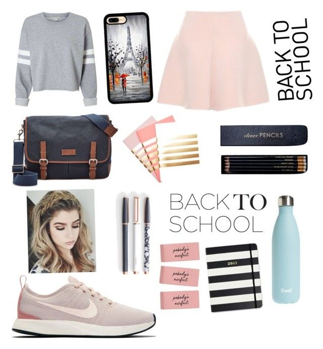 """""""Back2School with Style"""" by londonkat on Polyvore featuring RED Valentino, NIKE, FOSSIL, StudioSarah, Sloane Stationery, U Brands, S'well and Kate Spade"""