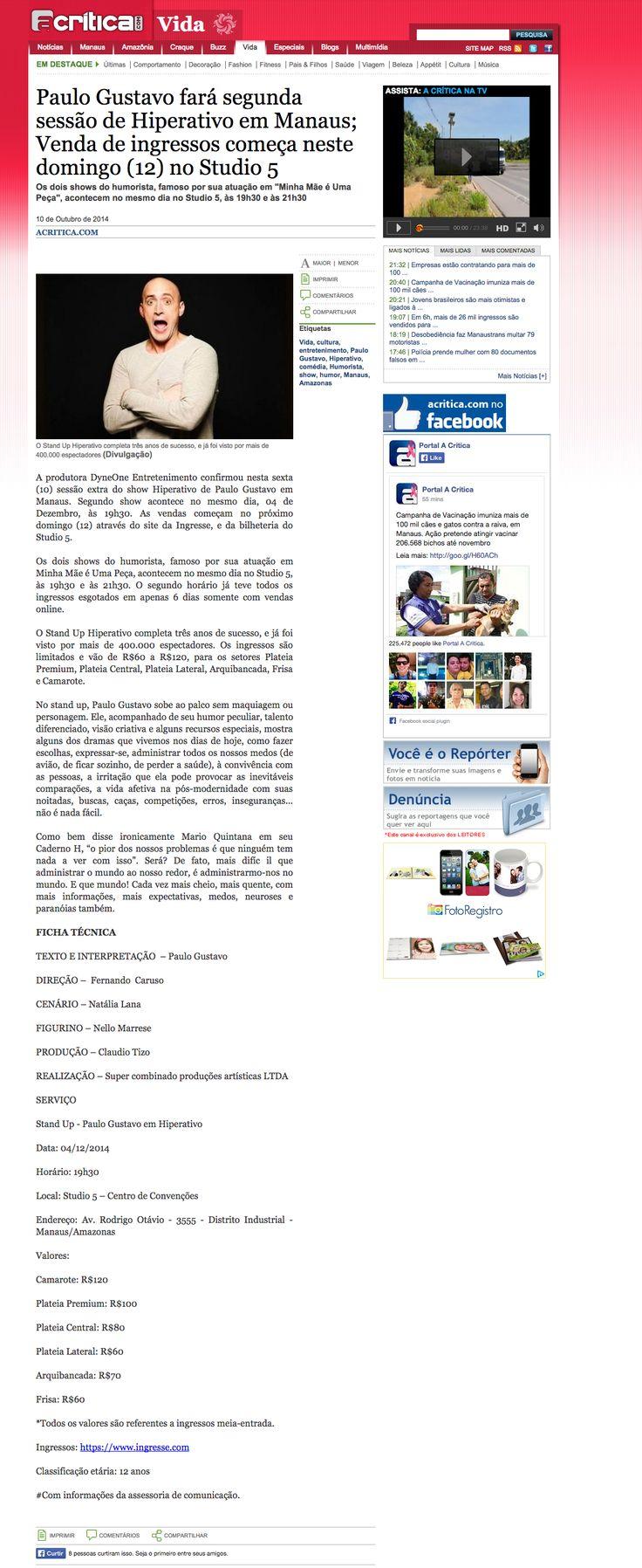 Paulo Gustavo fará segunda sessão de Hiperativo em Manaus; Venda de ingressos começa neste domingo (12) no Studio 5