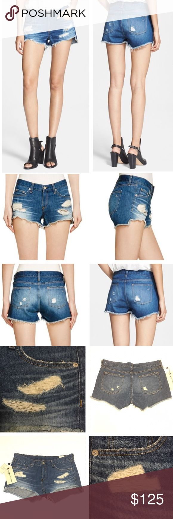 NWT RAG & BONE Cutoff Shorts (Freeport) 28 NWT Rag & Bone Cutoff Shorts. Color: Freeport. Size: 28. Indigo-wash shorts crafted from rigid Japanese denim are torn to pieces and finished with raggedy cutoff hems. Super trendy for spring and summer. These are still available on Nordstrom.com for full price of $165. Five pockets. Color looks like the stock photos. MADE IN THE USA 100% Cotton. Enjoy!🌸 rag & bone Shorts Jean Shorts