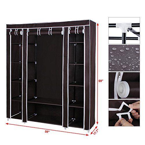 """$45.99 amazon.com  Songmics 59"""" Portable Clothes Closet Wardrobe Non-woven Fabric Storage Organizer with Shelves Dark Brown ULSF03K"""