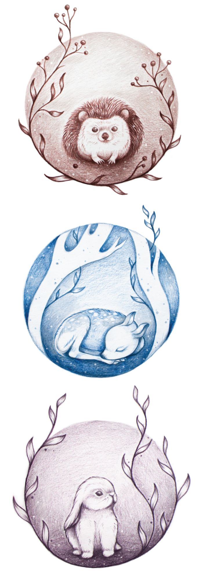 Hedgehog, Fawn & Bunny Holiday Greeting Cards on Behance                                                                                                                                                                                 More
