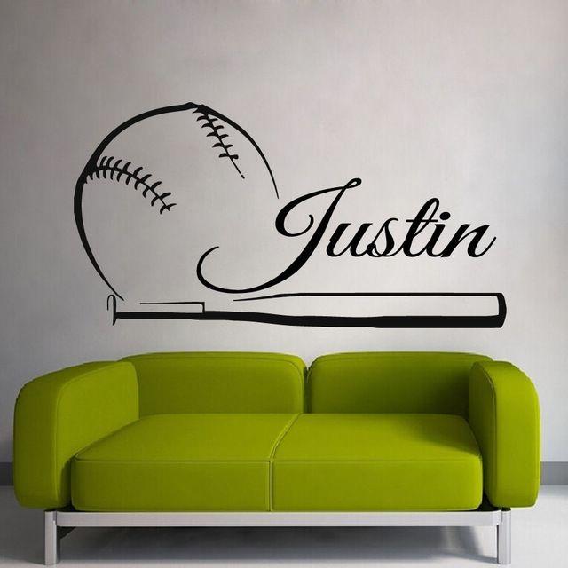 Baseball Sticker Name Sports Decal Posters Vinyl Wall Decals Pegatina Quadro Parede Decor Mural Baseball Sticker
