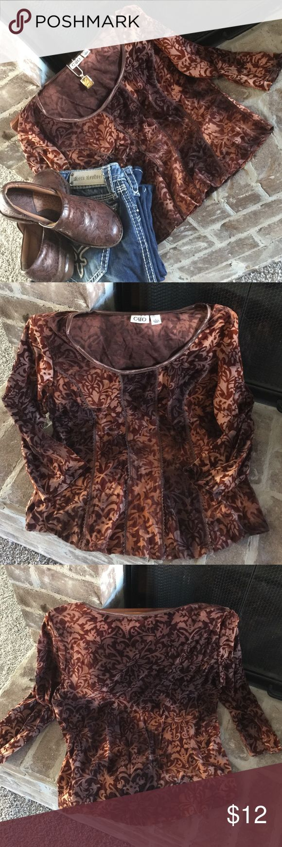 Stunning velvet feel Blouse Made of spandex, polyester, and nylon with a raised velvet design makes this one gorgeous blouse💓. EUC Tops