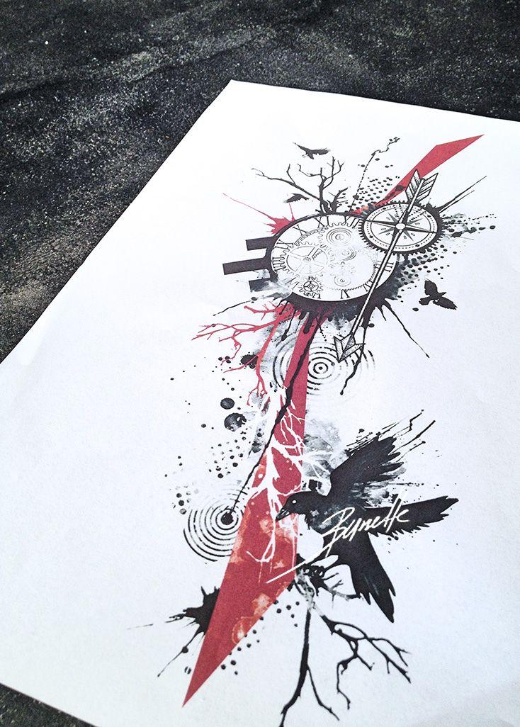 Clock compass abstract raven bird trash polka tree tattoo   tatuajes | Spanish tatuajes  |tatuajes para mujeres | tatuajes para hombres  | diseños de tatuajes http://amzn.to/28PQlav